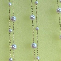 Newly AAA FW Akoya Pearl 2Strands G18K Chain necklace star style 3mm 5mm round beads