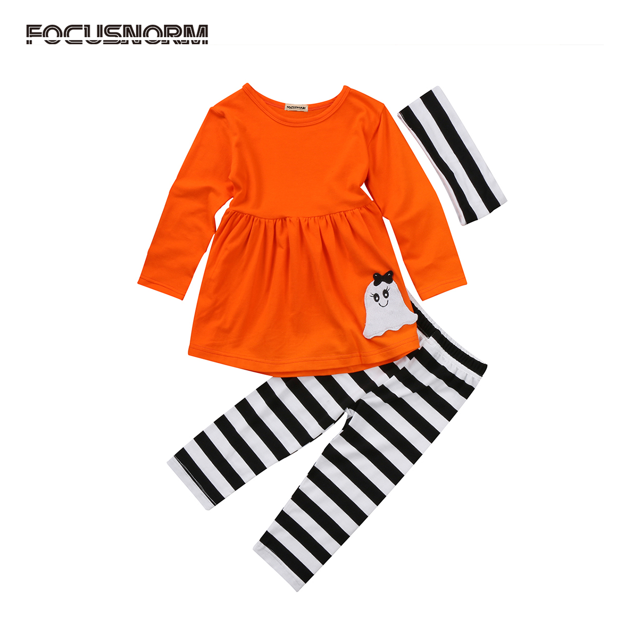 3pcs Toddler Kids Baby Girl Ghost Print Top+Striped Long Pant+Headband Halloween Outfits Clothes Costumes