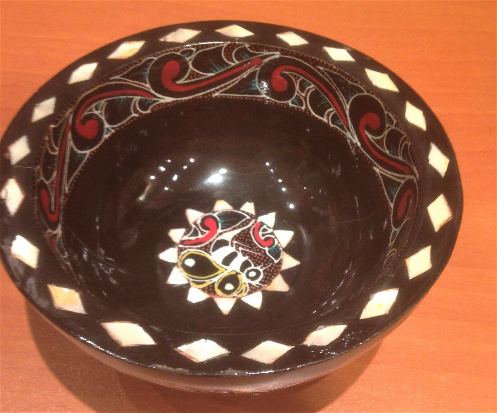 Hand Painted Wooden Bowl , Marble Decorated On The Wood ,Shaving Bowl