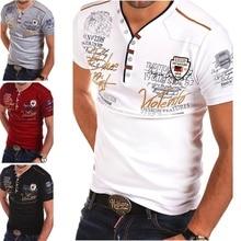 Zogaa Brand 2018 Summer Mens Shirt Short sleeve Fashion V-neck cotton shirts slim Fit men Tops Casual Male Shirt Printed Tees