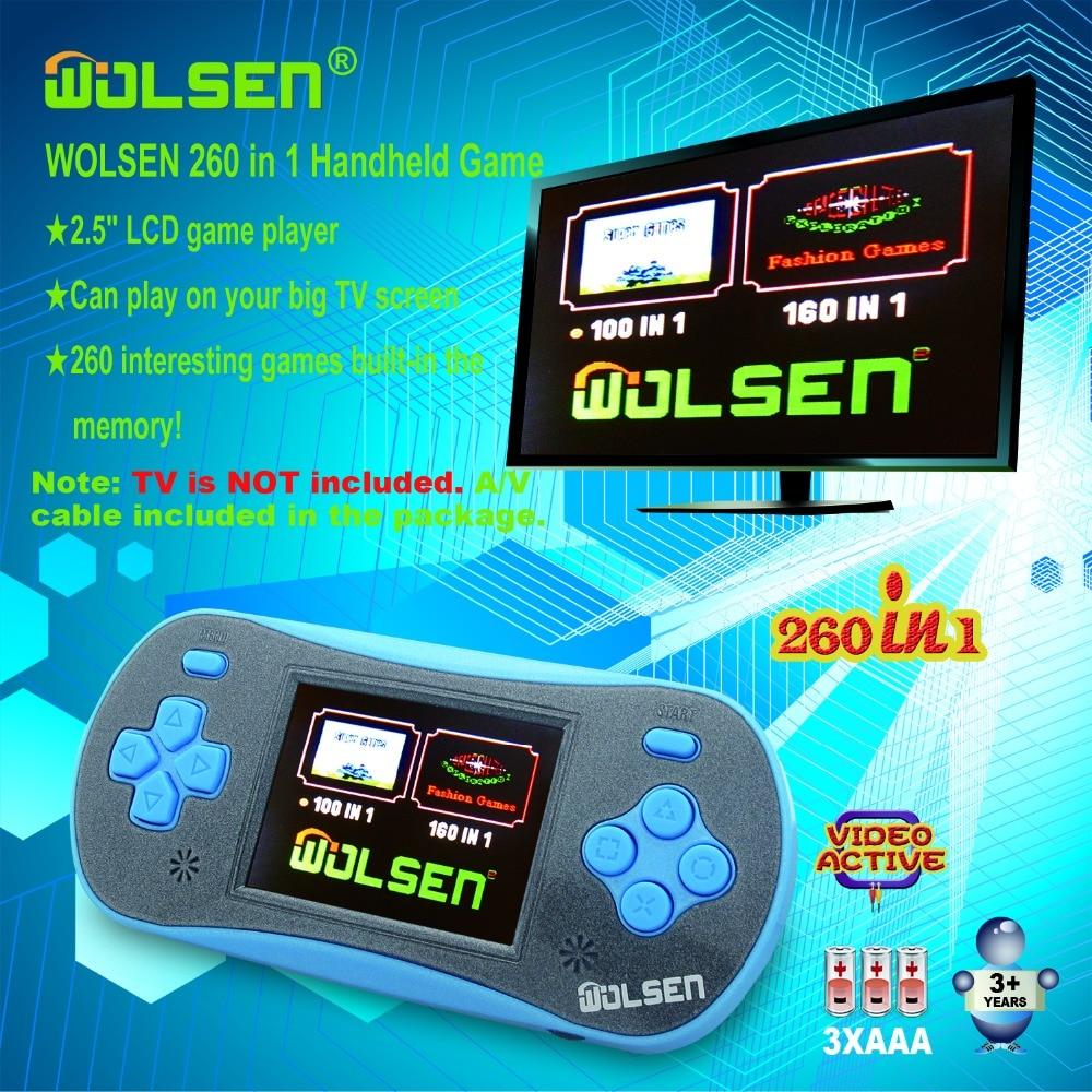 Высококачественные портативные игровые приставки мини портативные цветные видеоигры детям подарки классическая игра 260 в 1 (синий)