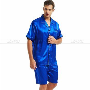 Męska jedwabna satynowa piżama piżama PJS krótki zestaw bielizna nocna Loungewear S M L XL 2XL 3XL 4XL tanie i dobre opinie Mężczyźni Piżamy Skręcić w dół kołnierz REGULAR M712 LONXU Przycisk fly Stałe Lycra Jedwabiu Casual