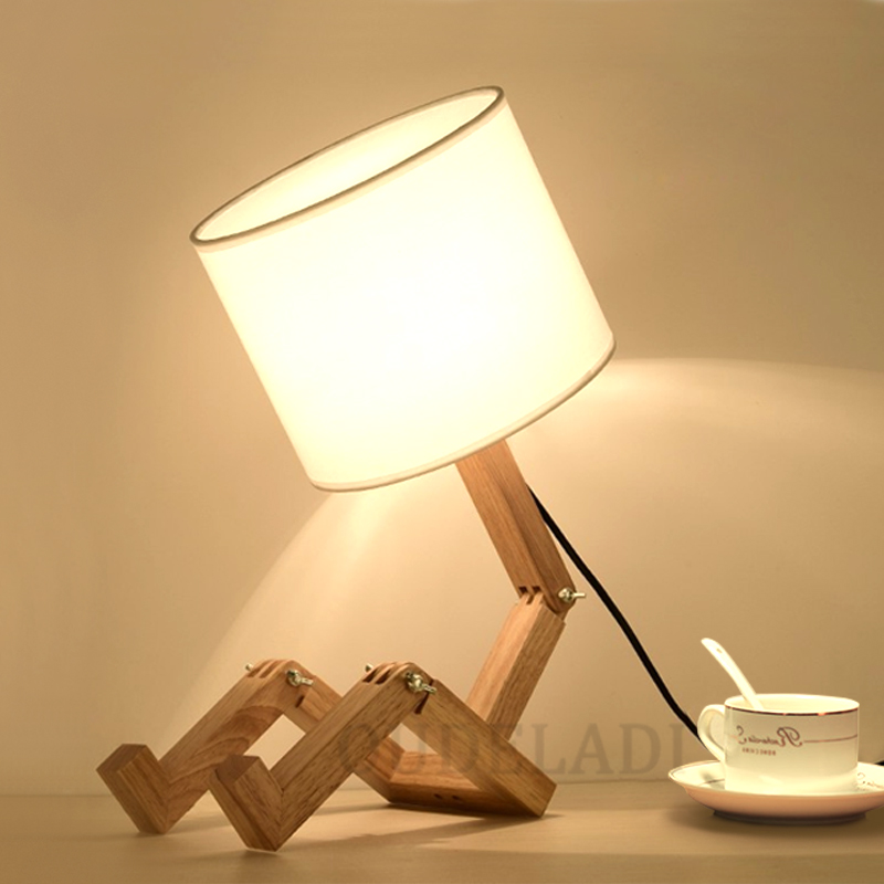 Robot Shape Wooden Table Lamp E27 Lamp Holder 110-240V Modern Cloth Art Wood Desk Table Lamp Parlor Indoor Study Night Light