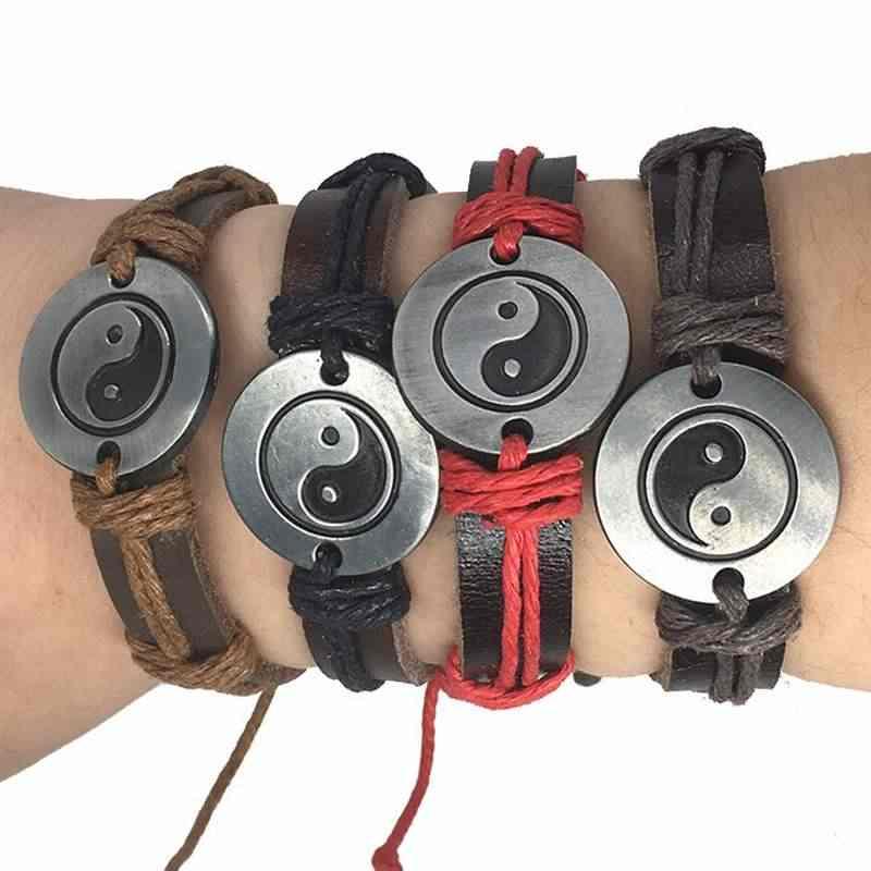 Винтажный амулет мира кожаные браслеты Руна для женщин 2018 ювелирные изделия Тай Чи Инь Ян мужчин панк цепи Шарм унисекс