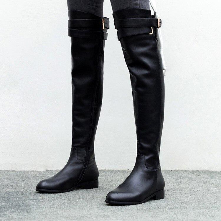 MLJUESE 2019 النساء فوق الركبة الأحذية جلد البقر مشبك حزام الشتاء أسود اللون قصيرة أفخم عالية أحذية النساء الأحذية حجم 34 42-في أحذية فوق الركبة من أحذية على  مجموعة 2