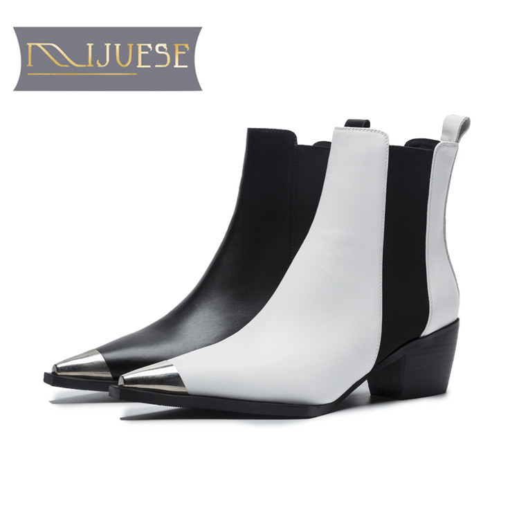 MLJUESE 2019 women ankle boots cow leather Rome style square toe low heel boots winter short