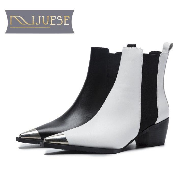 MLJUESE 2019 kobiety kostki buty krowa skórzane rzym styl plac toe buty na niskim obcasie zimowe krótkie pluszowe ciepłe Chelsea buty rozmiar 40 w Buty do kostki od Buty na  Grupa 1