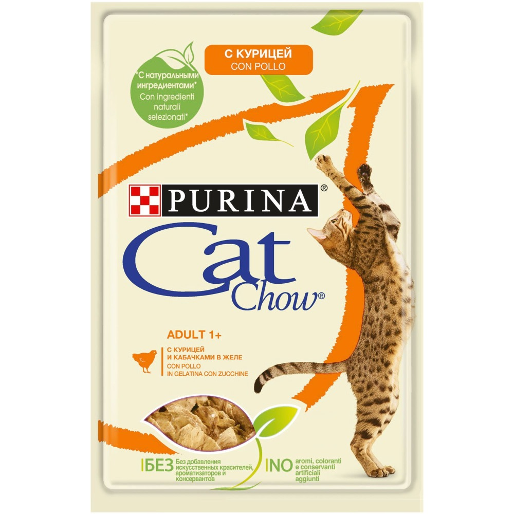 Wet feed Cat Chow for adult cats with chicken and zucchini, Pouch, 24x85 g.