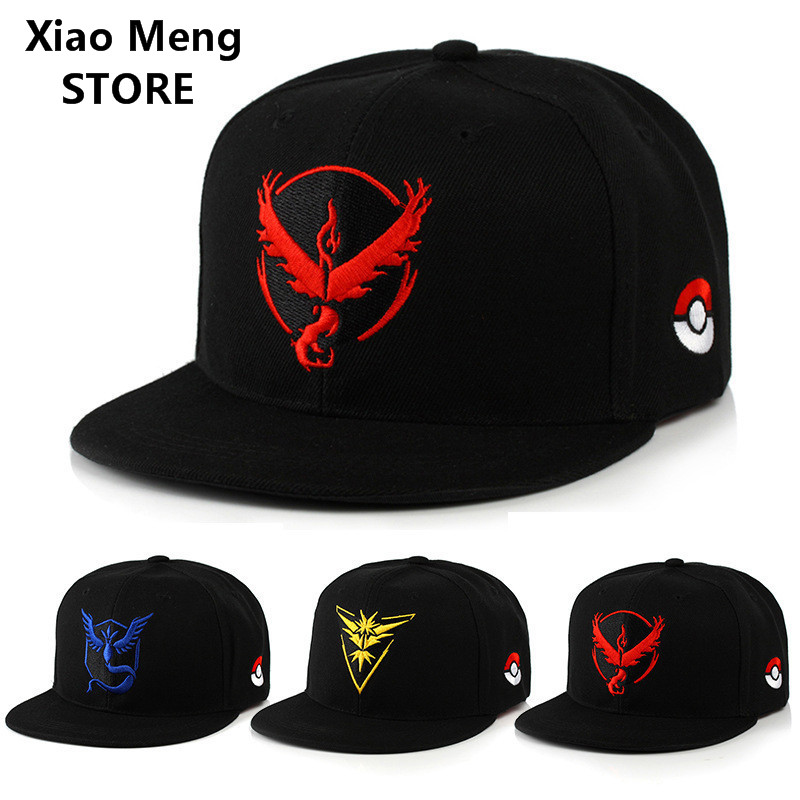 12 Style Pokemon Go Baseball Caps Hats Team Valor Team Mystic Team Instinct Snapback Hat Mobile Game Pokemon Adjustable Cap M57