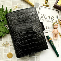 Yiwi Black Genuine Leather Rings Notebook 19.2x13.5cm Personal/A6 Diary Planner Handmade Agenda Organizer With Money Pocket
