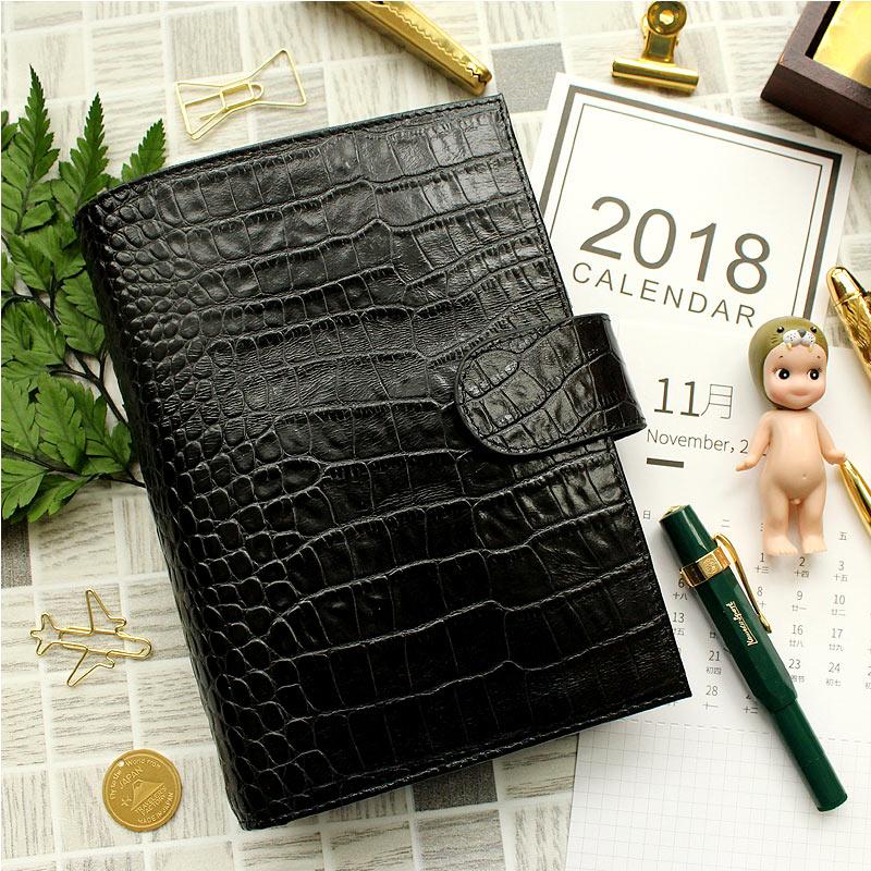 Yiwi noir anneaux en cuir véritable carnet 19.2x13.5 cm personnel/A6 Agenda planificateur à la main Agenda organisateur avec poche d'argent