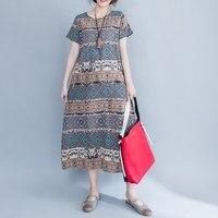 2017 Women Cotton Linen Print Loose Maxi Dress O Neck Short Sleeve Chinese Style Dress Ethnic