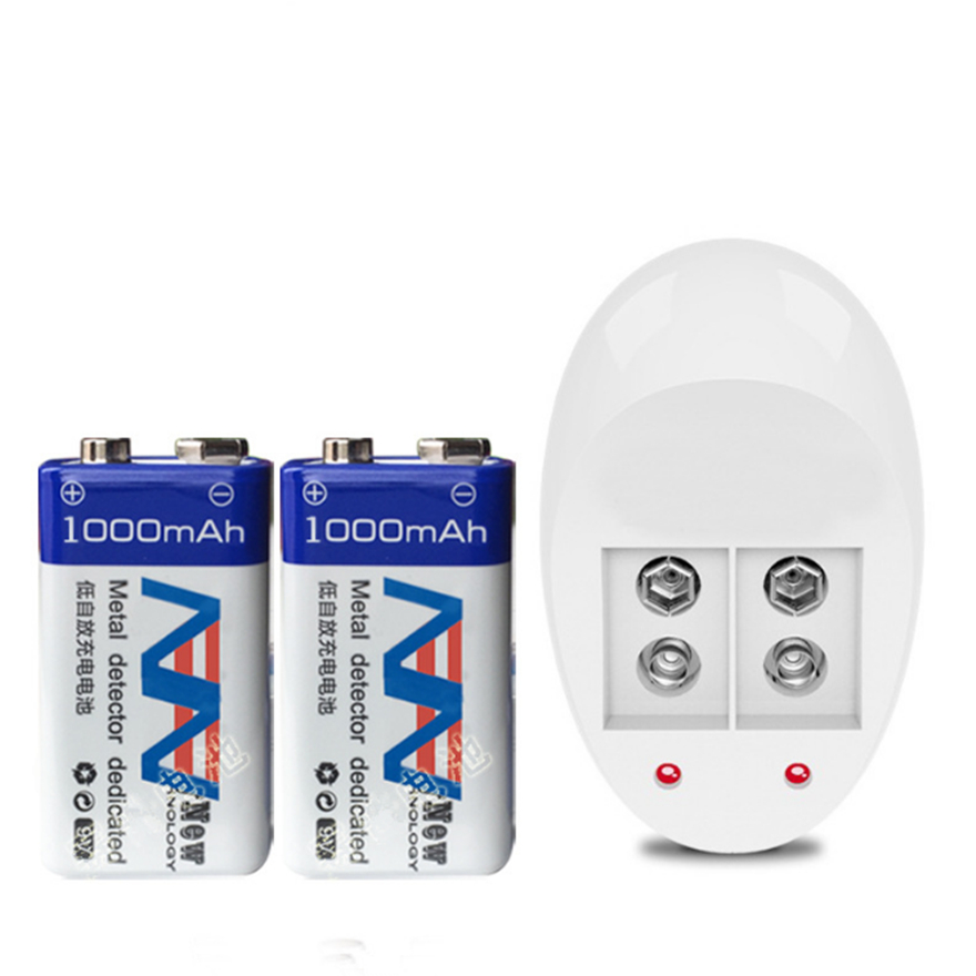 NEUE 2 stücke 1000 mah SUPER GROßE 9 v li-ion lithium-9 Volt Batterie Hersteller garantie + 1 stücke 9 v ladegerät