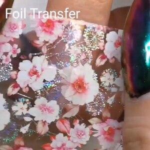 Image 3 - Lámina de decoración holográfica para uñas, 10 Uds. (10 diseños), transferencia de láminas para decoración de uñas