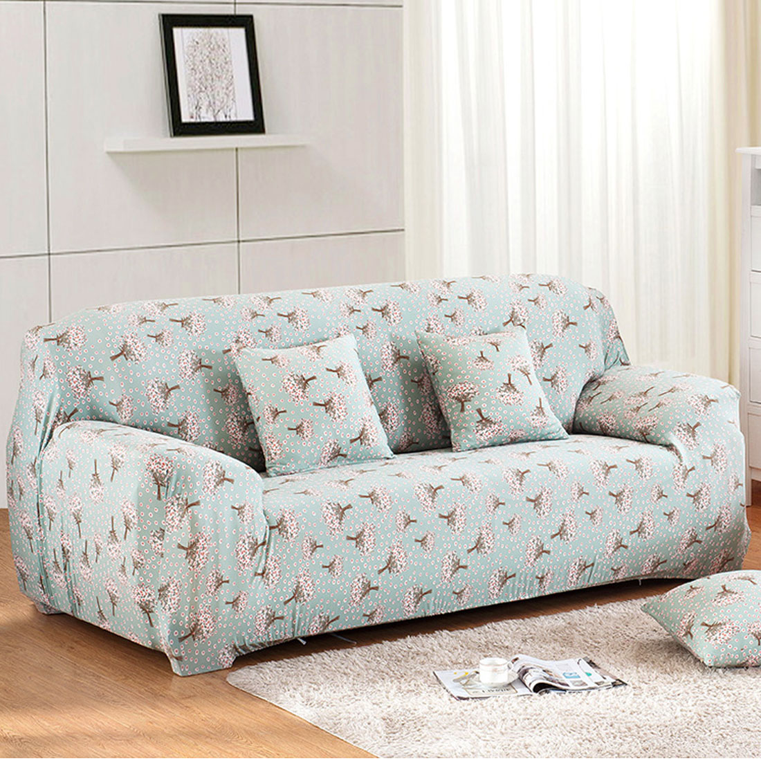 UXCELL Piccocasa Household Polyester Hyacinth Pattern Elastic 3 ...