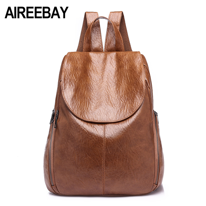 Aireebay Brand Vintage Women Backpack Soft Leather School Backpacks For Teenage Girls New Design Female Shoulder Bags