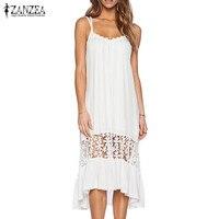 Plus Size 2017 ZANZEA Sexy Backless Women Summer Hollow Out Sleeveless Strappy Beach Slip Dress Lace