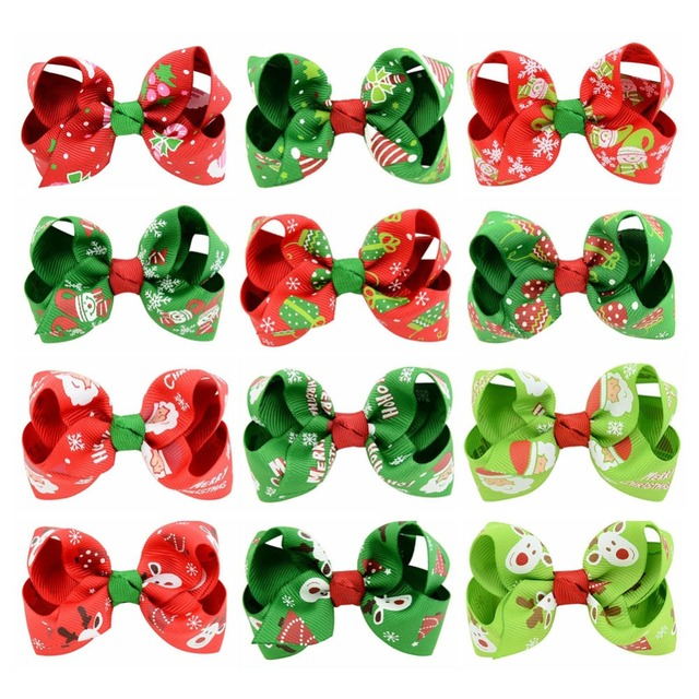 12Pcs/Lot 3.15 inch Boutique Christmas Grosgrain Ribbon Bows WITH Clip Snow Pinwheel Hair Clips Red Green Party Accessories 756