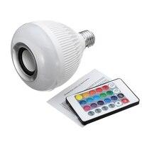 ราคาที่ดีที่สุด12วัตต์หลอดไฟLEDหลอดไฟE27 RGBไร้สายบลูทูธลำโพงเครื่อง