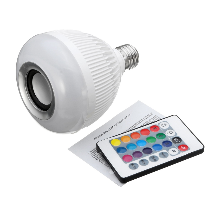 Best Price 12W LED Lamp Bulb E27 RGB Wireless Bluetooth Speaker Music Player 16 Color LED Light Bulbs With 24 Key Remote Control kmashi led flame lamp night light bluetooth wireless speaker touch soft light for iphone android christmas gift mp3 music player