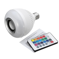 Best Price 12W LED Lamp Bulb E27 RGB Wireless Bluetooth Speaker Music Player 16 Color LED Light Bulbs With 24 Key Remote Control