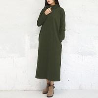 New Fashion ZANZEA Women Dresses Casual Solid Dress Autumn Vestidos Long Sleeve Turtleneck Plus Size M