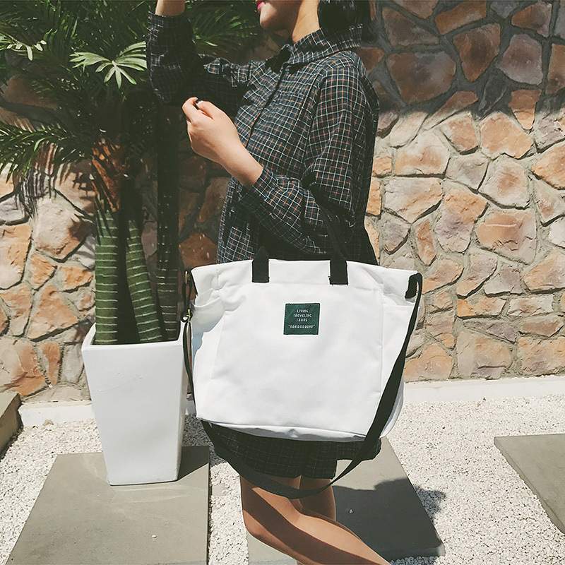 cc23acee5faa Original female art canvas bag Crossarm contrast coloured portable shopping  bag Casual canvas one shoulder hand bag-in Buckets from Luggage   Bags on  ...