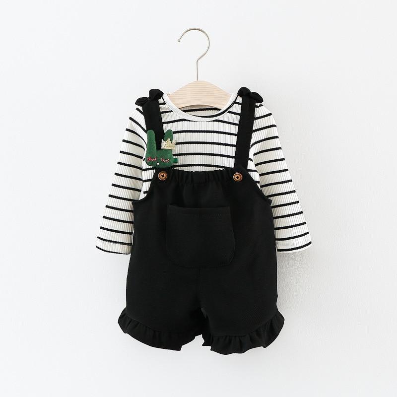 Moda Dla Dzieci Dziewczyny Odzież Ustawia Dzieci Bawełna Cartoon Ribbit Pełna Rękaw W Paski T Shirt + Szelki Spodnie Garnitur 2 kolory