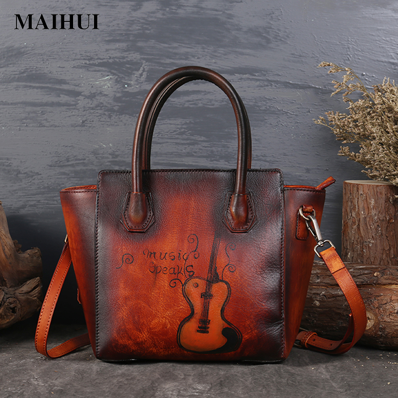MAIHUI women leather handbags high quality ladies shoulder bags new chinese style cowhide real genuine leather woman trapeze bag zooler genuine leather genuine real cowhide small handbags high quality brand women plaid shoulder bags chain tote crossbody bag