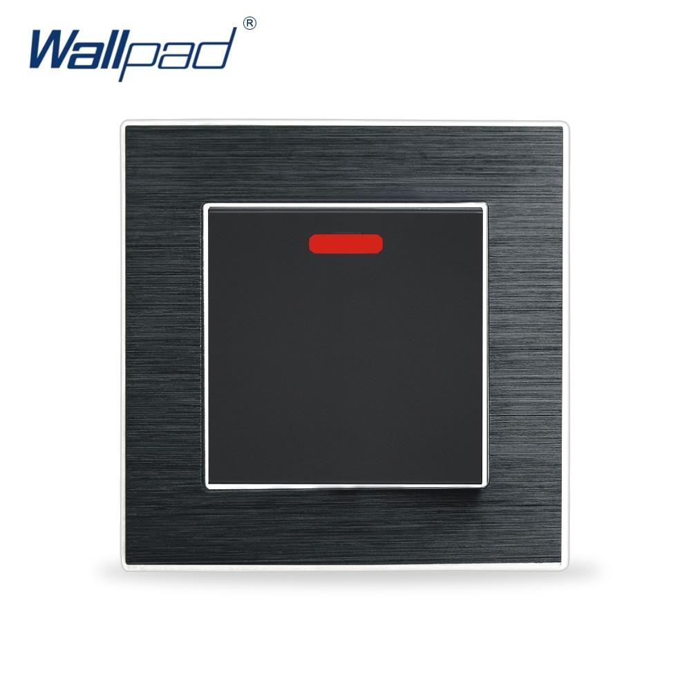 цена на New Arrival 20A Water Heater Switch Wallpad Luxury LED Indicator Wall Light Switch Satin Metal Panel Rocker Switch Interrupteur