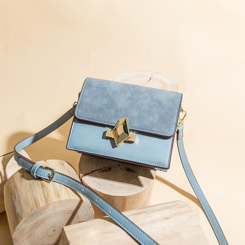 5523cf67a3 Bag Bleu marron Bandoulière Cross Sacs Femmes Main Bleu Daim Épaule  Messenger Sac En vert gris Patchwork ...