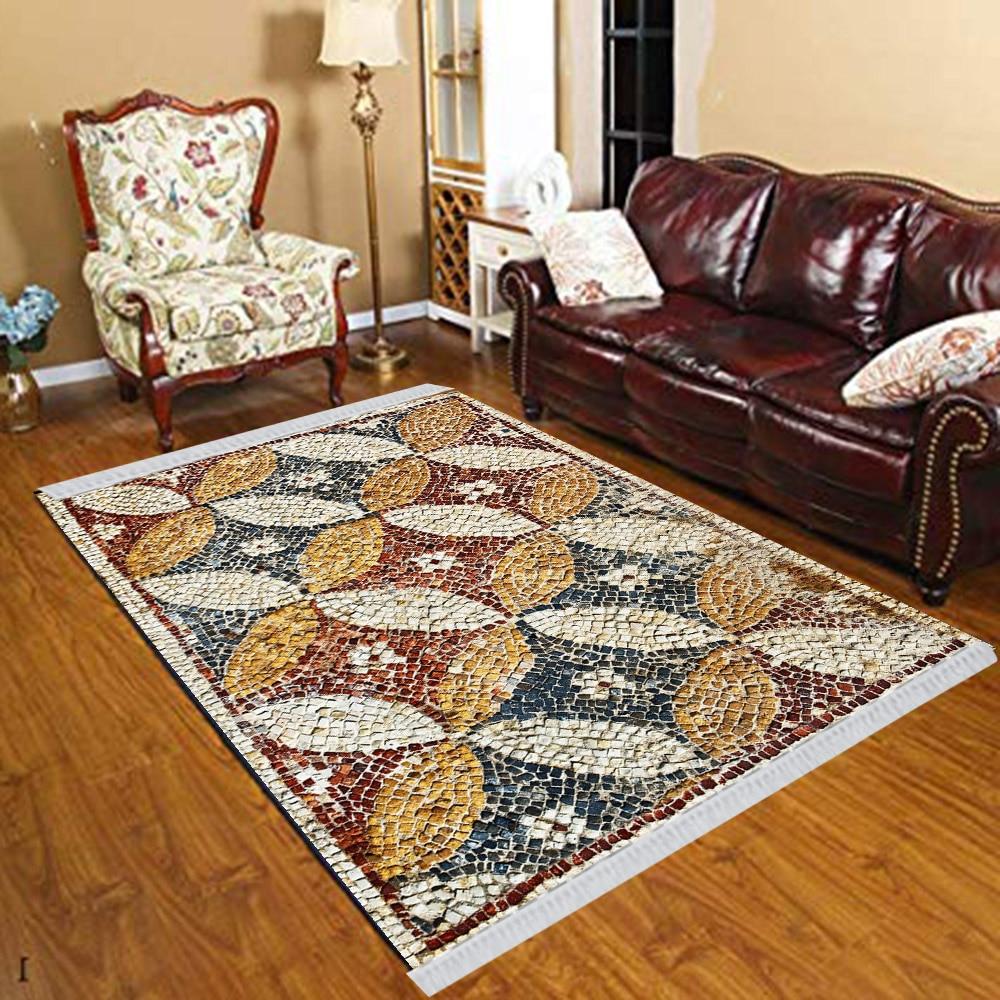 Else Red Green Brown Mosaic Pebble Stones 3d Print Anti Slip Kilim Washable Decorative Kilim Tassel Rug Bohemian Carpet