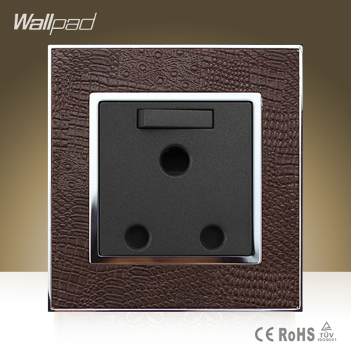 Wallpad Luxury 15A Switched Socket Goats Brown Leather Panel UK South Africa 15amp Industry Module Wall Socket  Free Shipping south africa argentina