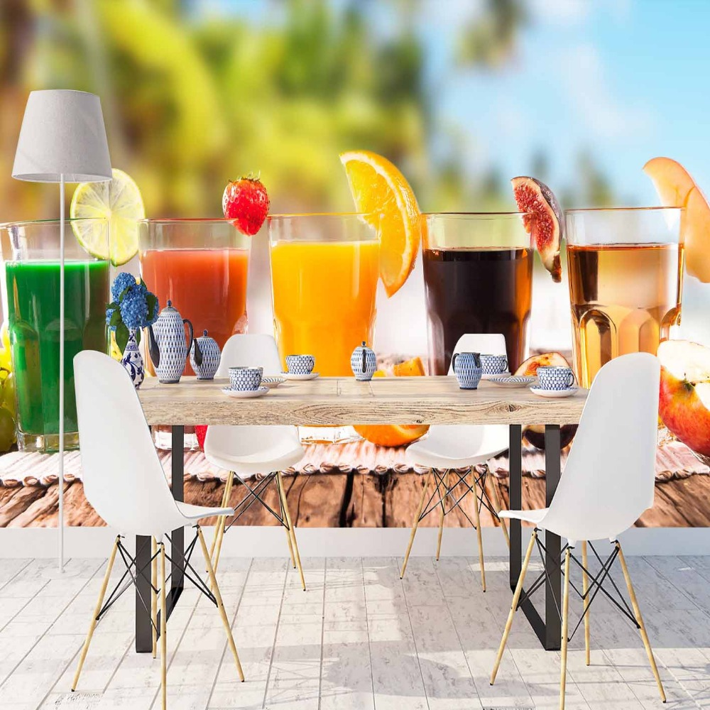 Else Tropical Beach Orange Green Yellow Juice 3d Print Photo Cleanable Fabric Mural Home Decor Kitchen Background Wallpaper