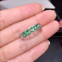 KJJEAXCMY Fine Jewelry 925 sterling silver inlaid natural gemstone emerald ladies ring support detection new