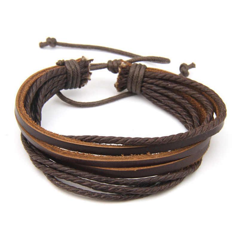 2019 nuevo 100% tejida a mano de joyería de moda de cuero trenzado cuerda pulsera de multicapa hombres pulseras y brazaletes para mujeres