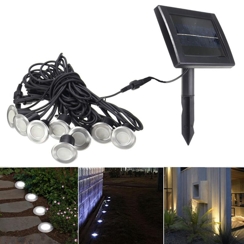 Mising 8 LED Solar Light Sensor Solar Power Waterproof Underground Lights Garden Light Path Outdoor Lawn Lamp l806 solar 8 led light black
