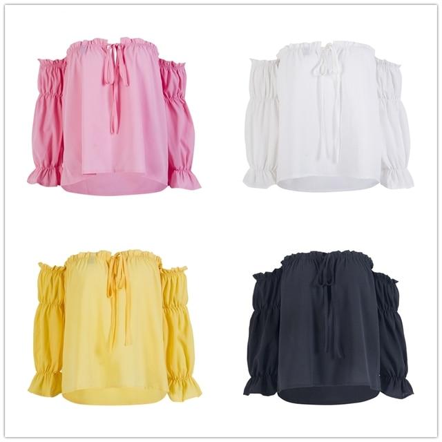 14df679c7c Roupa nova Moda Feminina Lady Fora Do Ombro Solto Manga Comprida Casual Camisa  Blusa Tops Ruffles