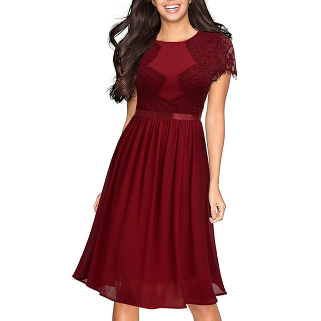 dc3346fae8297 Fashion Women Lace Midi Dress Formal Bridesmaid Hollow out Dresses Party  Prom Girl Wear XXL Size2 4 6 8 10 12 14-in Dresses from Women's Clothing &  ...