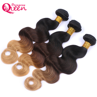 Dreaming Queen Hair Body Wave Ombre Brazilian Human Non Remy Hair #1B /4 /27 Honey Blonde Color Ombre Hair Extensions 1 Piece