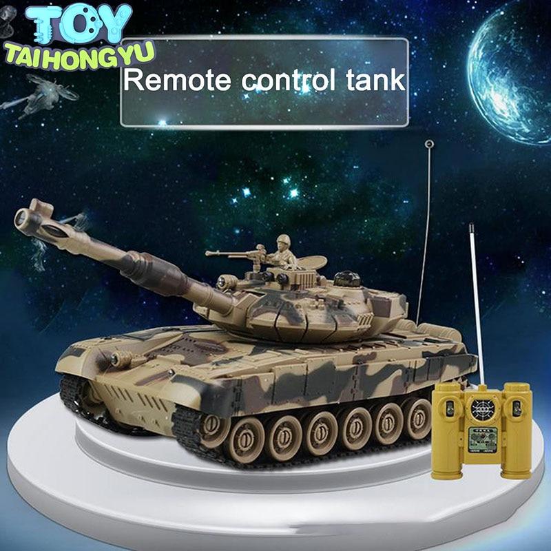 TAIHONGYU RC Tank 1/24 9CH 27 Mhz infrarouge RC bataille Tiger T90 réservoir canon Emmagee télécommande réservoir jouets à distance pour les garçons
