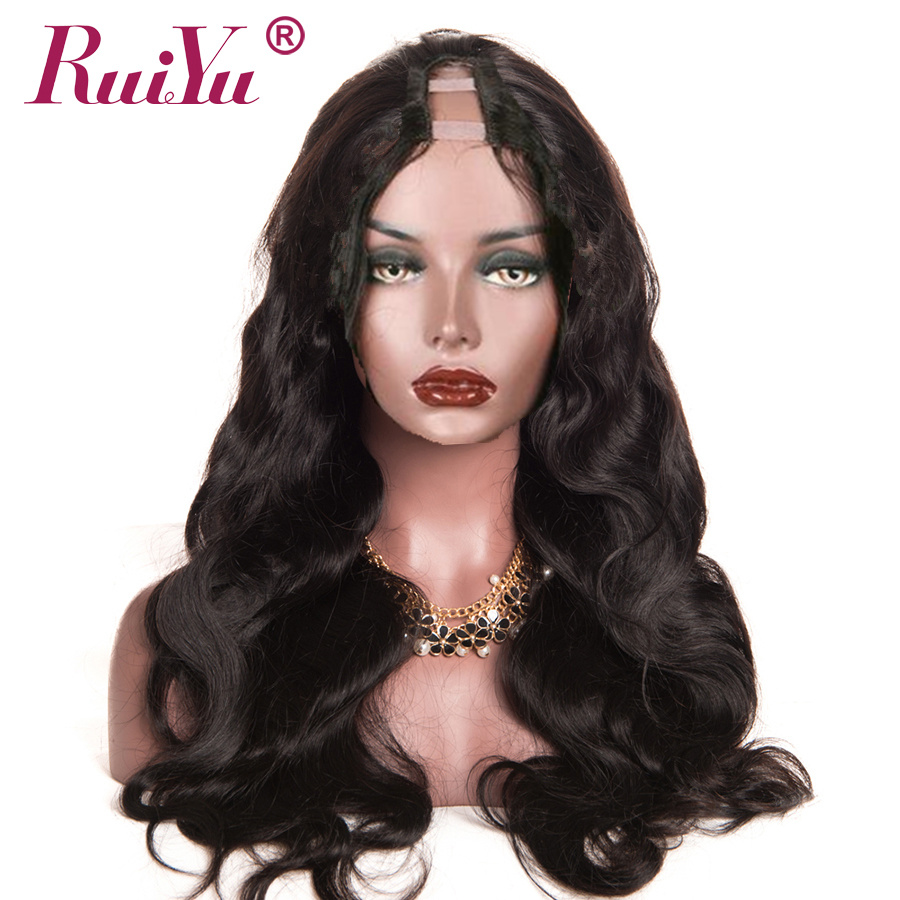 RUIYU Hair Brazilian Body Wave U Part Wig 100% Human Hair Wigs For Black Women Middle Part Remy Hair Wig Full End Lace Wigs