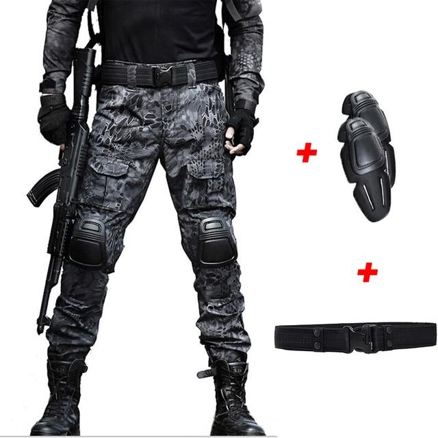 Pantalones militares tácticos hombres sueltos Multi bolsillo Militar Cargo pantalones  camuflaje combate ejército camuflaje caza pantalones 0c243644c51