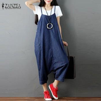 Plus Size ZANZEA Women Harem Romper Loose Suspender Skirt Jumpsuit 2017 Summer Denim Blue Buttons Dungaree Overalls Bib Pants