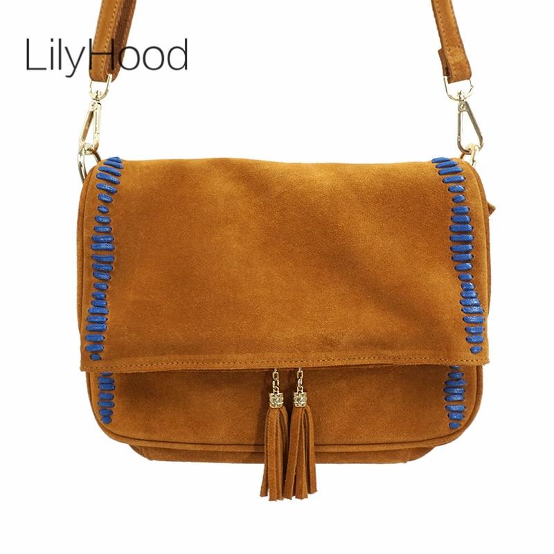 LilyHood Women Genuine Leather Shoulder Bag Unisex Fashion Casual Leisure Street Chic Style Suede Fringe Brown Big Crossbody Bag