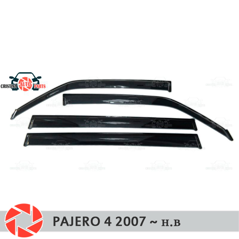 Window deflector for Mitsubishi Pajero 4 2007- rain deflector dirt protection car styling decoration accessories molding window deflector for mitsubisi pajero 2 1990 2004 rain deflector dirt protection car styling decoration accessories molding