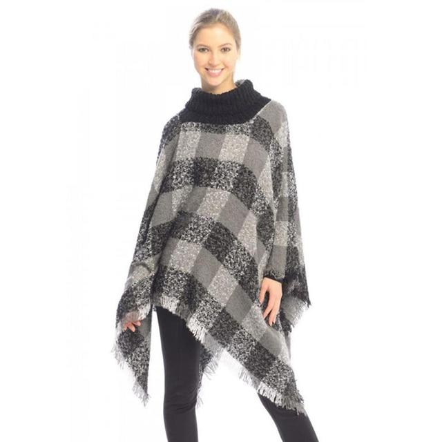 lasperal plaid gestricktes poncho 2017 herbst winter warm. Black Bedroom Furniture Sets. Home Design Ideas