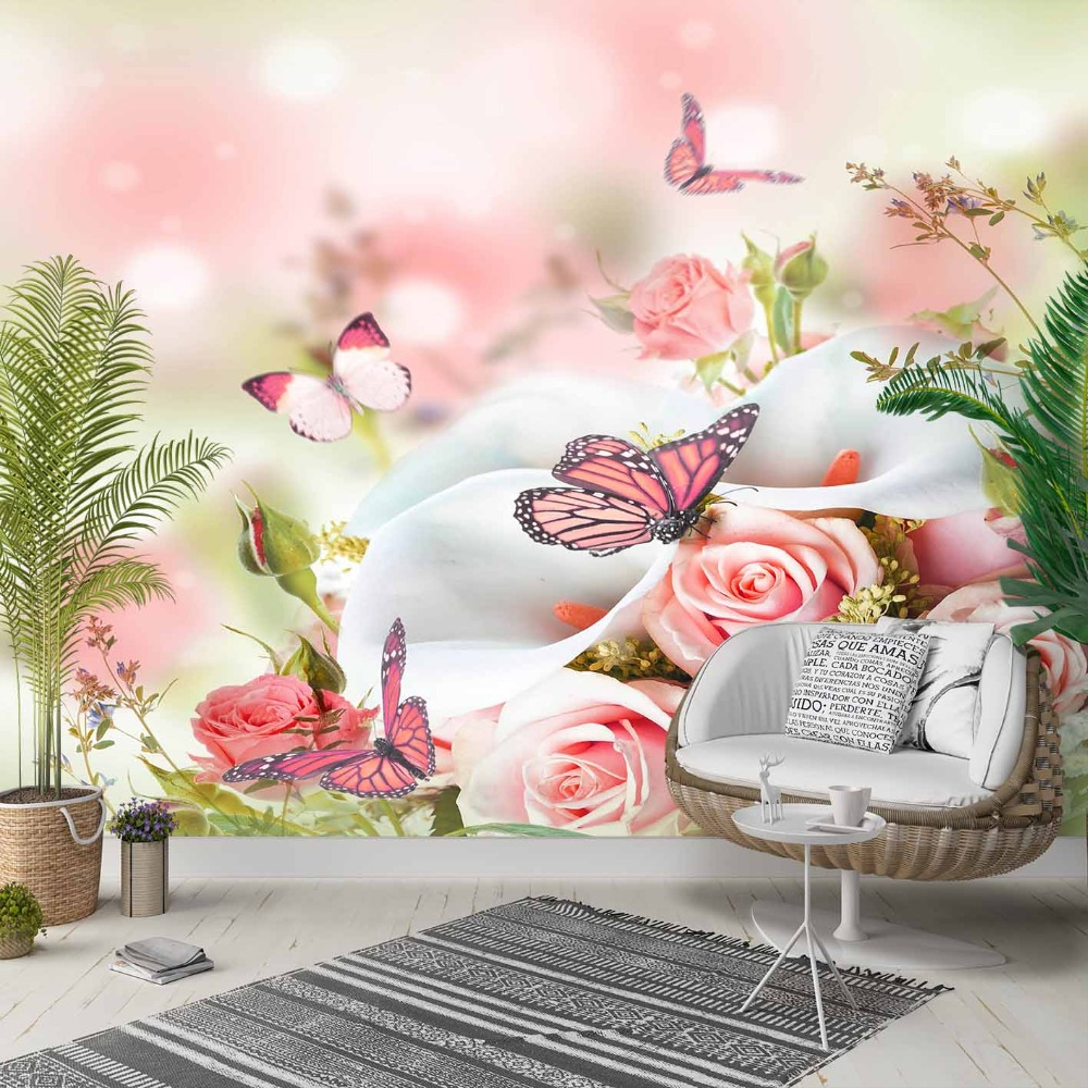 Else White Orchid Pink Rose Flower Butterfly 3d Photo Cleanable Fabric Mural Home Decor Living Room Bedroom Background Wallpaper