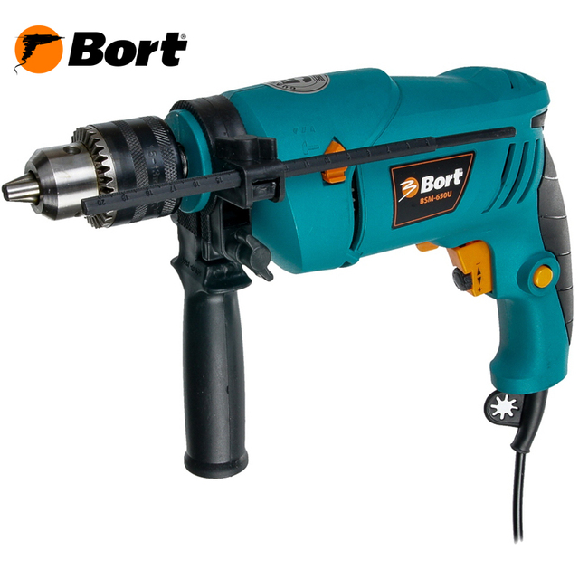 Дрель ударная Bort BSM-650U (Мощность 650 Вт, 3000 об/мин холостого хода, регулировка скорости, ключевой тип патрона, глубина пропила дерева до 25 мм, реверс)