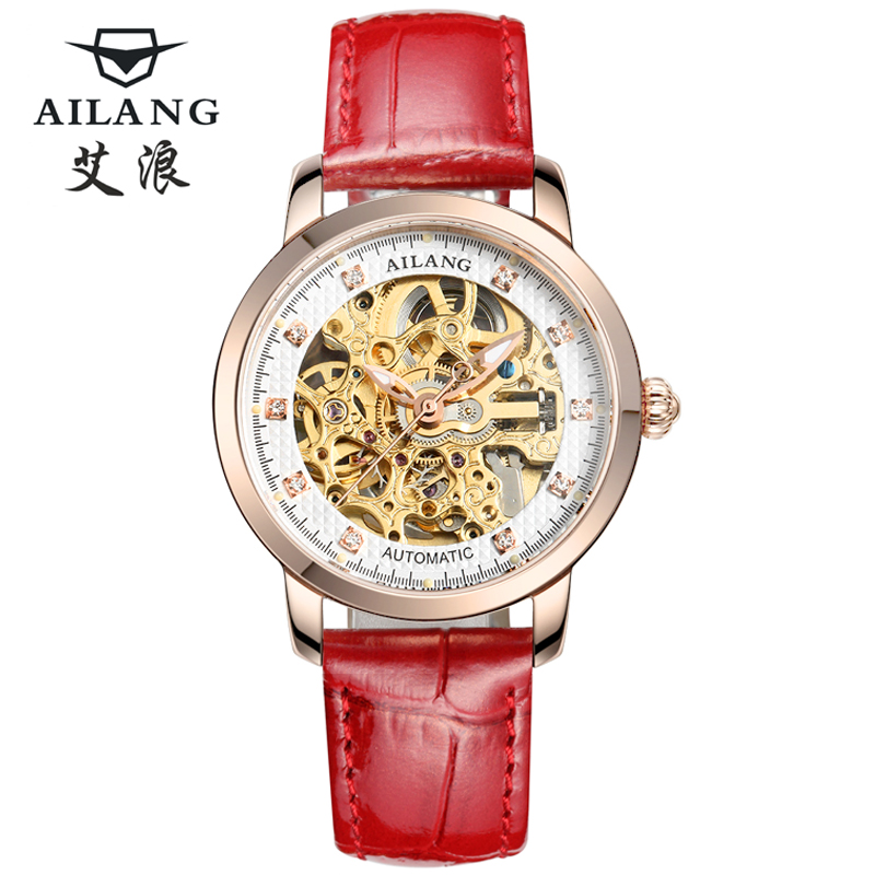 Automatic Mechanical Watches Women red Skeletal relogios Luxury Famous Brand of Genuine leather strap Watch Sapphire Bracelet